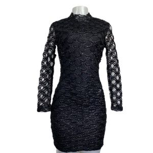 CBR Black Geometric Textured Bodycon Dress S